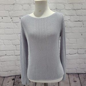Chain linking Swoop neck long sleeve sweater